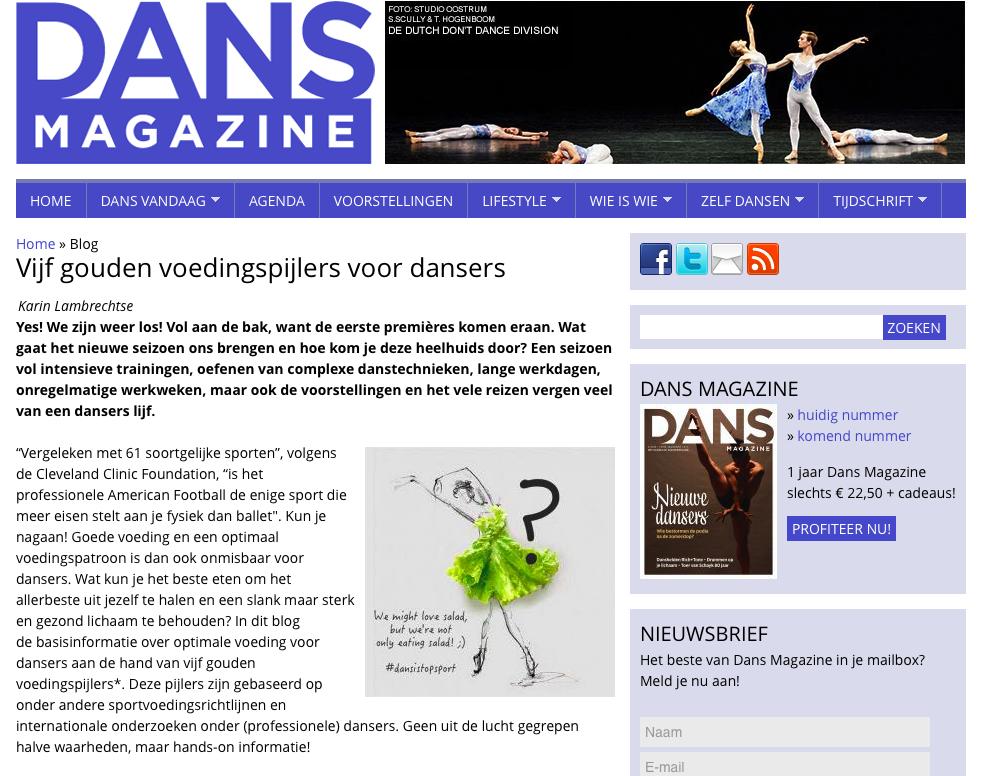 voedingsblog 3 dansmagazine Karin Lambrechtse